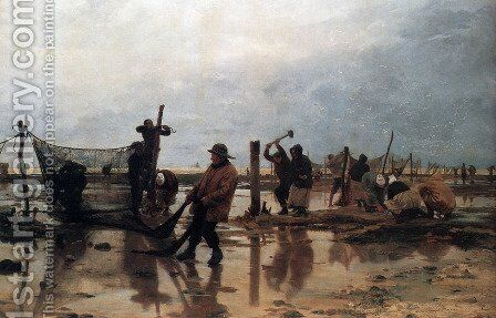 Fastening the Nets by Edouard Dantan - Reproduction Oil Painting