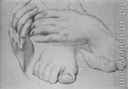 Study of Hands and Feet for The Golden Age by Jean Auguste Dominique Ingres - Reproduction Oil Painting