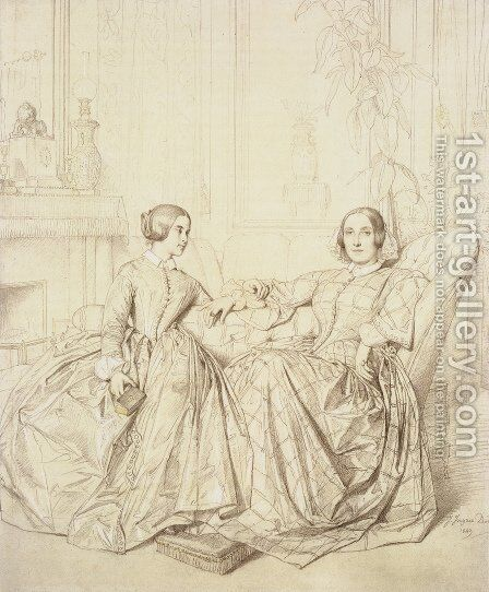 Comtesse Charles d'Agoult, née Marie de Flavigny, and Her Daughter Claire d'Agoult by Jean Auguste Dominique Ingres - Reproduction Oil Painting