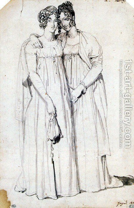 Henriette Harvey and her half sister Elizabeth Norton by Jean Auguste Dominique Ingres - Reproduction Oil Painting