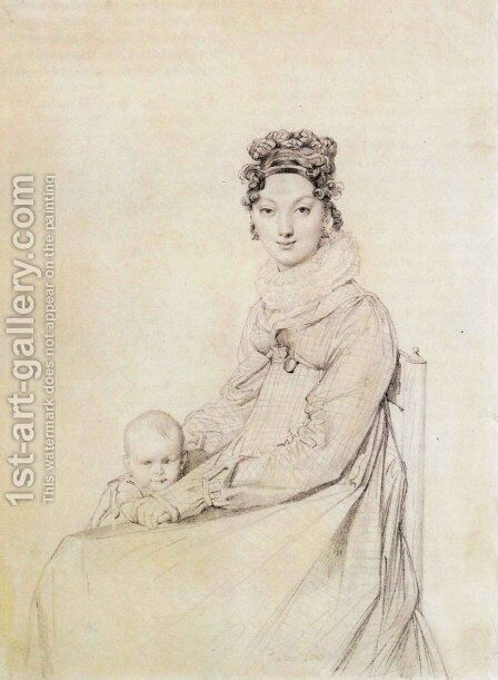 Madame Alexandre Lethiere, born Rosa Meli, and her daughter, Letizia by Jean Auguste Dominique Ingres - Reproduction Oil Painting