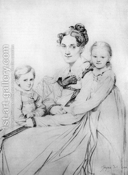 Madame Johann Gotthard Reinhold, born Sophie Amalie Dorothea Wilhelmine Ritter, and her two daughters, Susette and Marie by Jean Auguste Dominique Ingres - Reproduction Oil Painting