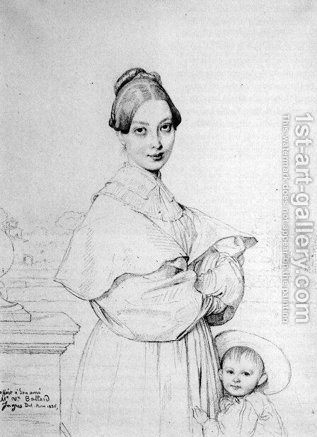 Madame Victor Baltard, born Adeline Lequeux, and her daughter, Paule by Jean Auguste Dominique Ingres - Reproduction Oil Painting