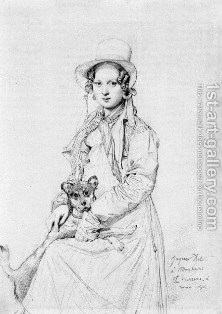 Mademoiselle Henriette Ursule Claire, maybe Thevenin, and her dog Trim by Jean Auguste Dominique Ingres - Reproduction Oil Painting