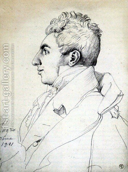 Portrait of a Man by Jean Auguste Dominique Ingres - Reproduction Oil Painting