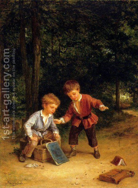 Playing Marbles by Andre Henri Dargelas - Reproduction Oil Painting