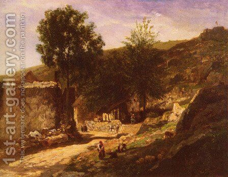 Entree De Village (Entering the Village) by Charles-Francois Daubigny - Reproduction Oil Painting