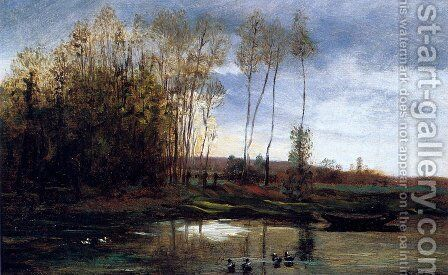 Riviere Avec Six Canards by Charles-Francois Daubigny - Reproduction Oil Painting