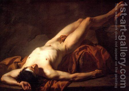 Male Nude known as Hector by Jacques Louis David - Reproduction Oil Painting
