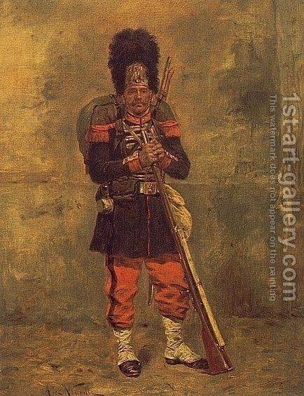 French Grenadier by Alphonse de Neuville - Reproduction Oil Painting