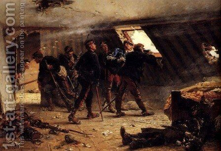 Episode From The Franco-Prussian War by Alphonse de Neuville - Reproduction Oil Painting