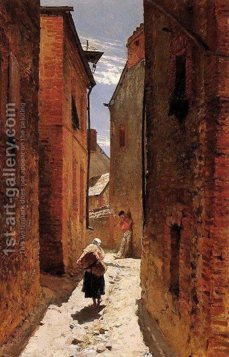 Street In The Old Town by Alphonse de Neuville - Reproduction Oil Painting