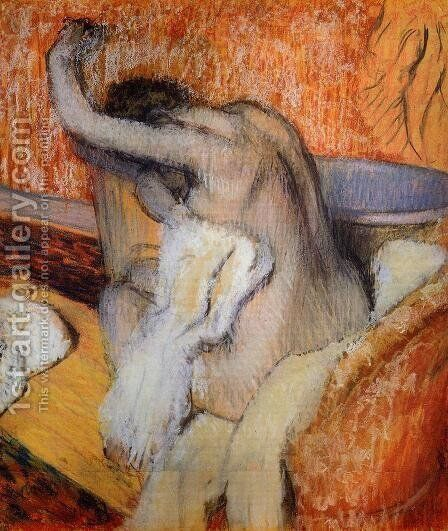 After the Bath, Woman Drying Herself by Edgar Degas - Reproduction Oil Painting