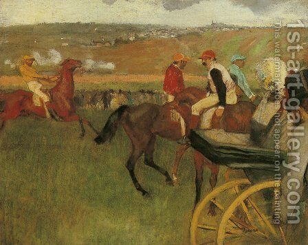 At the Races, Gentlemen Jockeys by Edgar Degas - Reproduction Oil Painting