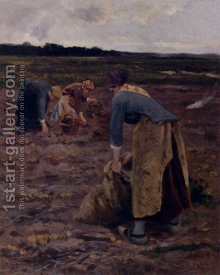 The Potato Gatherers by Hippolyte Camille Delpy - Reproduction Oil Painting