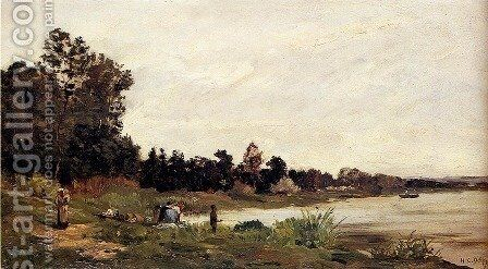Washerwomen In A River Landscape by Hippolyte Camille Delpy - Reproduction Oil Painting