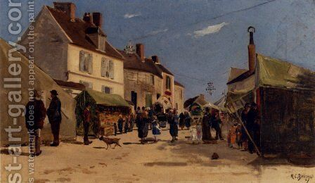 Rue Pavoisee A Dieppe by Hippolyte Camille Delpy - Reproduction Oil Painting