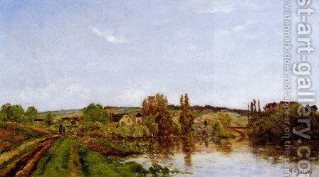 Walking Along The River by Hippolyte Camille Delpy - Reproduction Oil Painting