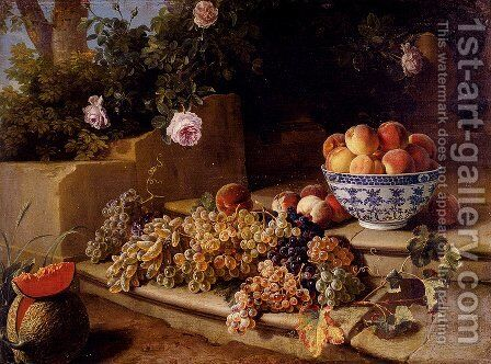 Still Life Of Grapes, Peaches In A Blue And White Porcelain Bowl And A Melon, Resting On A Stone Stairway by Alexandre-Francois Desportes - Reproduction Oil Painting
