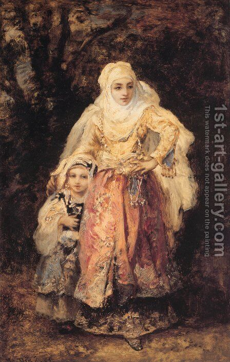 Oriental Woman and Her Daughter by Narcisse-Virgile Díaz de la Peña - Reproduction Oil Painting