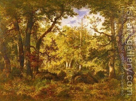 A Sunlit Clearing In The Forest At Fontainebleau by Narcisse-Virgile Díaz de la Peña - Reproduction Oil Painting