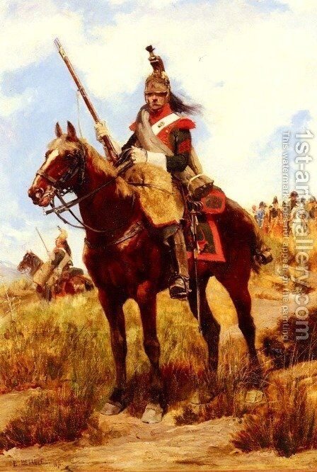 A Rank Soldier of the 12th Dragon Regiment en vedette by Jean Baptiste Edouard Detaille - Reproduction Oil Painting