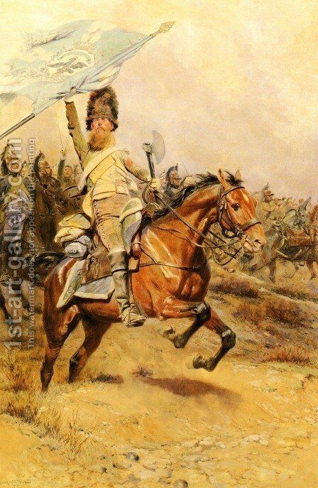 La Charge (The Charge) by Jean Baptiste Edouard Detaille - Reproduction Oil Painting
