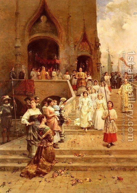 The Confirmation Procession by Cesare-Auguste Detti - Reproduction Oil Painting