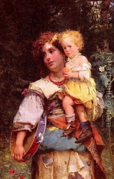 Gypsy Woman and Child by Cesare-Auguste Detti - Reproduction Oil Painting