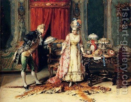 Flowers For Her Ladyship by Cesare-Auguste Detti - Reproduction Oil Painting