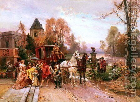 The Arrival of the Baby by Cesare-Auguste Detti - Reproduction Oil Painting