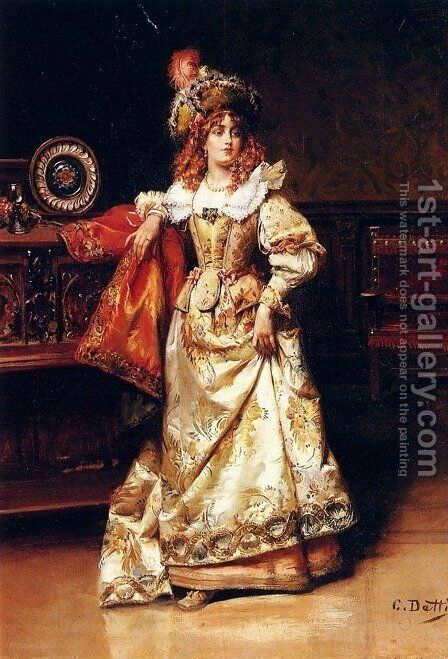 Waiting For Her Escort by Cesare-Auguste Detti - Reproduction Oil Painting