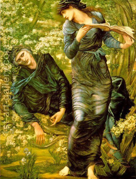 The Beguiling of Merlin by Sir Edward Coley Burne-Jones - Reproduction Oil Painting