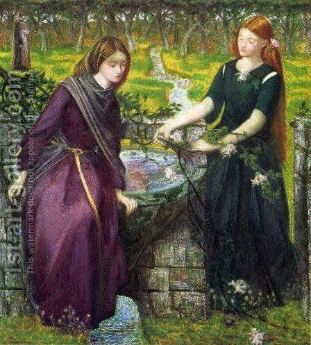 Dante's Vision of Rachel and Leah by Dante Gabriel Rossetti - Reproduction Oil Painting