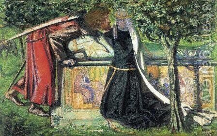 Arthur's Tomb: The Last Meeting of Lancelot and Guinevere by Dante Gabriel Rossetti - Reproduction Oil Painting
