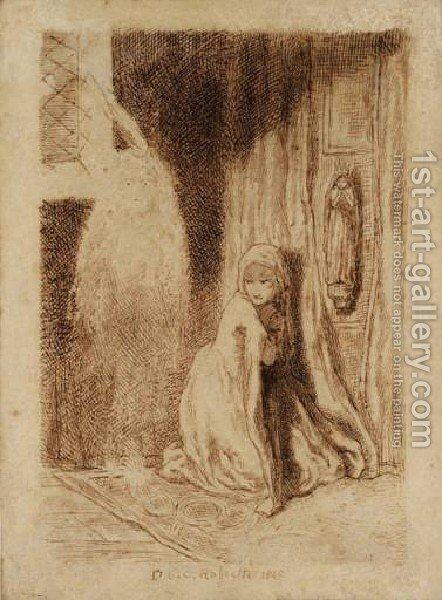 Faust: Margaret in the Church by Dante Gabriel Rossetti - Reproduction Oil Painting