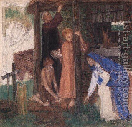 The Passover in the Holy Family: Gathering Bitter Herbs by Dante Gabriel Rossetti - Reproduction Oil Painting