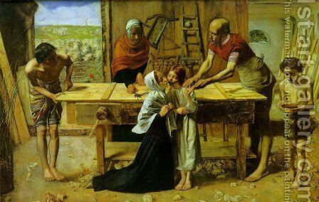Christ in the House of His Parents (or The Carpenter's Shop) by Sir John Everett Millais - Reproduction Oil Painting