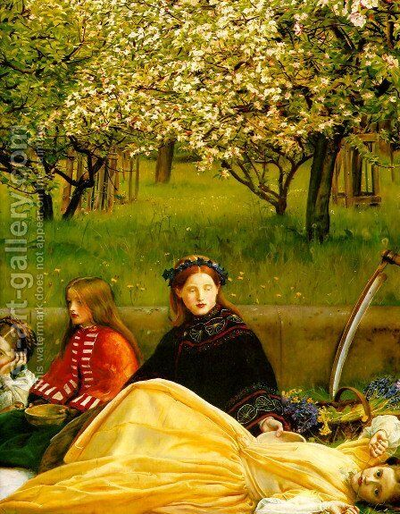 Apple Blossoms (Spring) - detail I by Sir John Everett Millais - Reproduction Oil Painting
