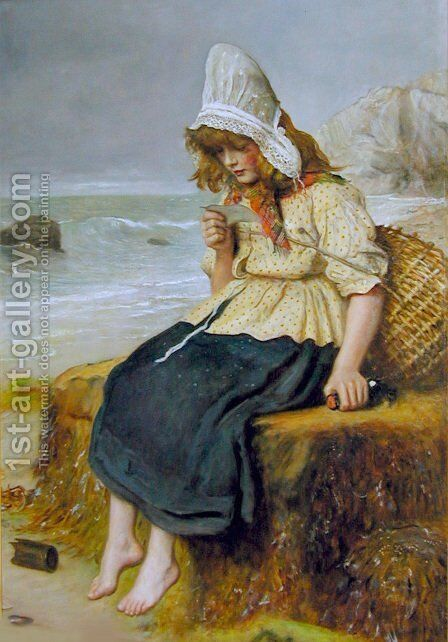 Message from the Sea by Sir John Everett Millais - Reproduction Oil Painting