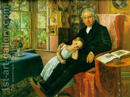 James Wyatt and His Granddaughter Mary by Sir John Everett Millais - Reproduction Oil Painting