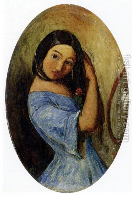 A Young Girl Combing Her Hair by Sir John Everett Millais - Reproduction Oil Painting