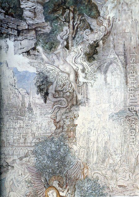 The Chimeras - detail by Gustave Moreau - Reproduction Oil Painting