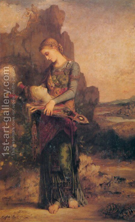 Thracian Girl carrying the Head of Orpheus on his Lyre by Gustave Moreau - Reproduction Oil Painting
