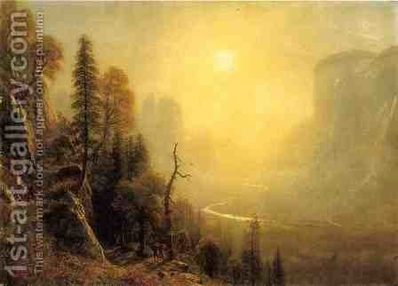 "Study for ""Yosemite Valley, Glacier Point Trail"" by Albert Bierstadt - Reproduction Oil Painting"