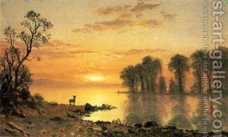 Sunset, Deer, and River by Albert Bierstadt - Reproduction Oil Painting