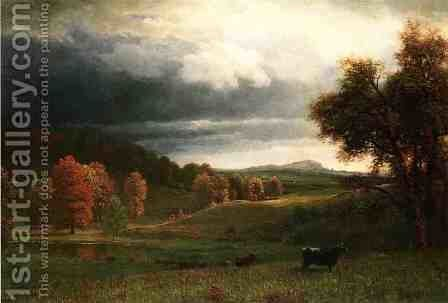 Autumn Landscape: The Catskills by Albert Bierstadt - Reproduction Oil Painting