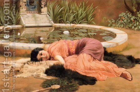 Dolce far niente (Sweet Nothings) by John William Godward - Reproduction Oil Painting
