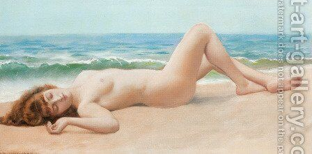 Nu Sur La Plage (Nude on the Beach) by John William Godward - Reproduction Oil Painting