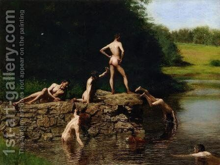 Swimming by Thomas Cowperthwait Eakins - Reproduction Oil Painting